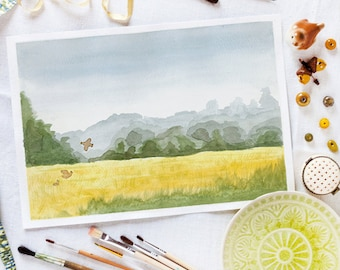 Autumnal field_digital printable landscape_watercolour art_wall art decor_original watercolor print_A4 A3 print_downloadable watercolor