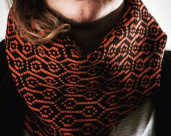 Scarf knitted wool. Winter. Gift for him. Accessories for men. Woollo handmade. Black and orange // Handknitted, ideal for winter