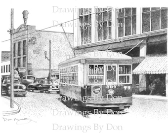 Trolley on Adams Ave & Linden St Print