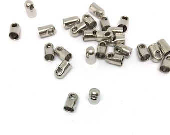 20 end caps, robust, silver, 4mm