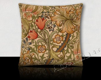 Pillow Designer flowers and foliage traditional - Green/Blue/Watermelon/camel on ivory background