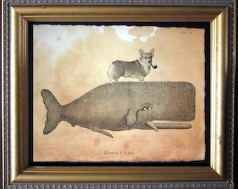 Welsh Corgi Dog Riding Whale - Vintage Collage Art Print on Tea Stained Paper -  dog art - dog gifts -- father's day gift- graduation gift