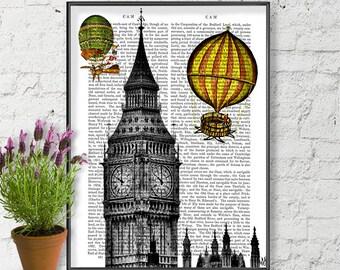 Vintage Hot Air Balloon Print & Big Ben print Big Ben art big ben drawing big ben clock british poster hot air balloon decor british decor