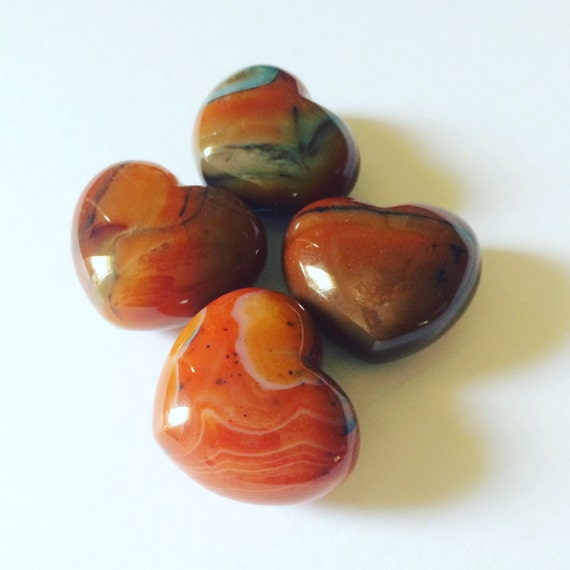 Carnelian Gemstone Hearts, Red Puffy Hearts, Carved and Polished Gemstones, Tumbled Healing Crystals, Heart Shaped Rocks, Meditation Crystal