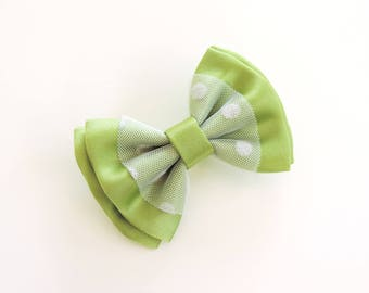 satin Green Apple and white tulle brooch