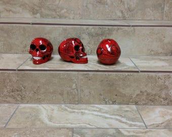 Ceramic sugar skulls. sugar skulls. handpainted sugar skulls. halloween decor. skeleton skulls.skulls. handpainted skulls.red sugar skulls
