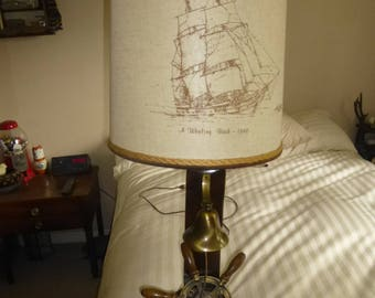 Nautical Lamp - Ships wheel and bell on wood and rope base with Whaling Bark shade.
