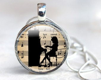 Music Jewellery,  gifts for music lovers silver pendant Gift for Music lover, girl playing the piano necklace with music notes