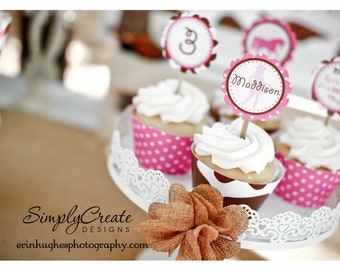 Cowgirl Cupcake Toppers DIGITAL File 8.5  x 11 Jpeg File Personalized