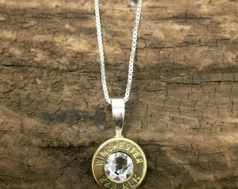 Bullet Necklace, 223 Brass Bullet Head Sterling Necklace WIN-223-B-SBHN, Custom Bullet Necklace, 223 Necklace, AR-15 Necklace, AR15, Jewelry