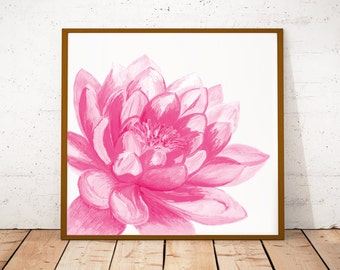 Floral bedroom decor, pink flower, Yoga art, baby girl nursery art, lotus painting home decor, Water lily flower art print, botanical prints