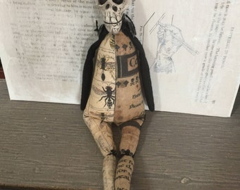 OOAK Creepy Cute Macabre Gothic Skeleton Art Doll Human Skull Strange Figure Wasp Bee Contemporary Sculpture Articulated