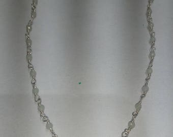 SGR106 one foot aqua calcidhonia 2mm to 2.5 mm silver plated  rosary chain /wire wrapped chain  .