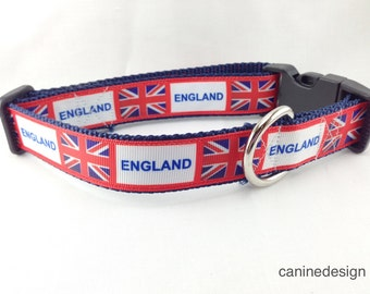 Dog Collar, England, Union Jack, 1 inch wide, adjustable, quick release, metal buckle, chain, martingale, hybrid, nylon