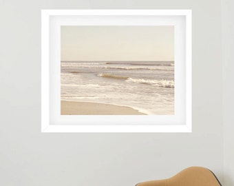 Nautical framed art, framed beach photography, extra large wall art, framed coastal print, tan white neutral seascape ocean framed wall art