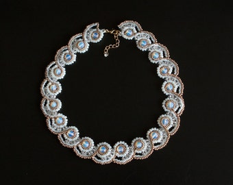 White Opal and Gold Bridal Necklace with Clear Swarovski Crystal and Opalite Beads. Elegant Wedding or Evening Collar, Wavy Design  S-340