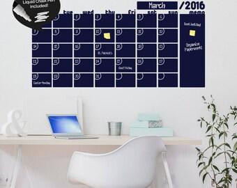 Write & Erase Adhesive Monthly Planner - Calendar Wall Decal Sticker - Liquid Chalk Marker - Chalkboard Wall Calendar