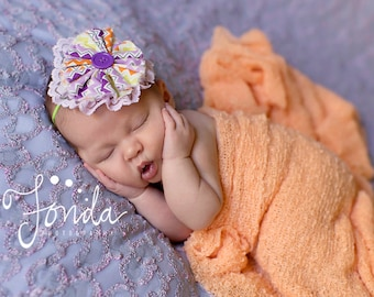 October Afternoons- Purple, orange, lime and lavender stripe ruffle headband