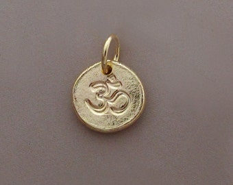 Ohm Pendant in 14k Gold, Tiny 14k Yellow Gold Om (Ohm) Charm, Pebble, Recycled Gold