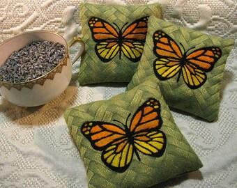 Lavender Sachet -Monarch Butterfly Sachet Set - Home Fragrance - Set of 3 Organic French Lavender Sachets for Drawers - Moth Repellent