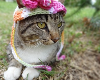 Flower Cat Hat Costume - Cats and Small Dogs - The Pretty Kitty Spring Cat Hat- Cat Clothes Cat Clothing Pets