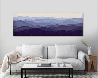 Mountain Memories Illustration - Smoky - Green - Blue Ridge - Mountains  Stretched Canvas Panel Ready to Hang Wall Art