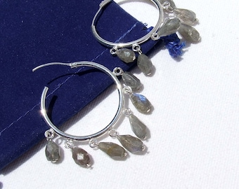 Labradorite Earrings, Sterling hoops with natural faceted stone beads, blue flash