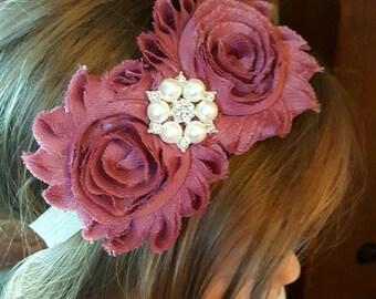 Mauve and Ivory Headband, Flower Girl Headband, Newborn Headband, Ivory Hair Bow, Mauve Headband, Victorian Headband, Fancy Baby Headband