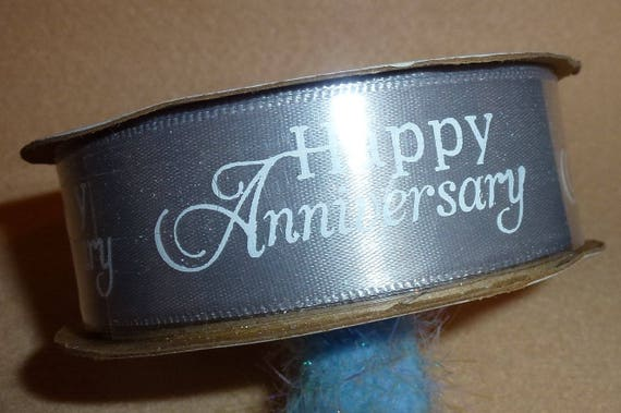 "Puppy Bows ~  craft supplies silver/gray/white happy anniversary  ribbon 7/8"" x 3 yards (CS2)"