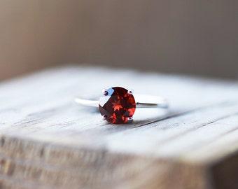 Garnet Ring, Garnet Engagement Ring, Red Stone Ring, Silver Gemstone Ring, January Birthstone, Natural Garnet, Promise Ring, Ring Size 8