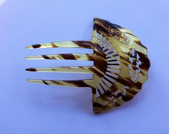Antique or vintage early 20c mantilla style  large faux tortoiseshell hair comb