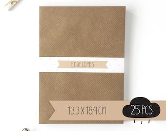 Envelope / kraft brown / 13,3 x 18,4 cm / 25 pieces