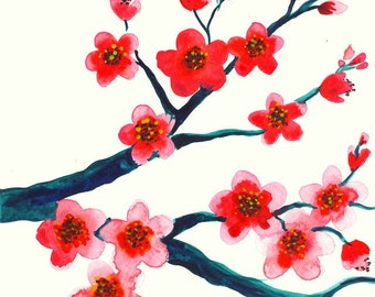 Pink Cherry Blossom Original Watercolor Painting - Magenta Green Branch Sakura Watercolor Painting - Pink Red Cherry Blossom Wall Decor