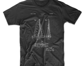 Collapsable Sailboat Patent T Shirt, Sailing Shirts, Sailboat Shirt, Nautical TShirt, PP0769
