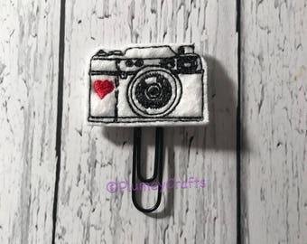 Camera paper clip, black and white paper clip, camera planner clip, planner paperclip, planner accessory, camera bookmark