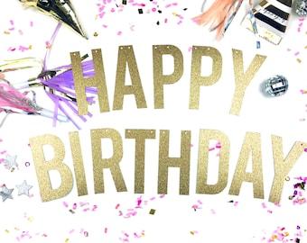 HAPPY BIRTHDAY BANNER /// Glitter Birthday Banner