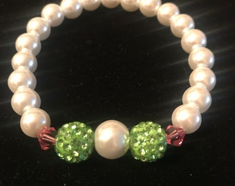Pearl and Green Pave Bracelet