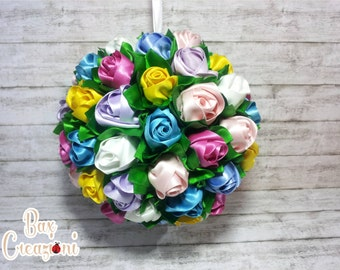"Alternative Wedding Bouquet with satin Roses. ""Rainbow"""