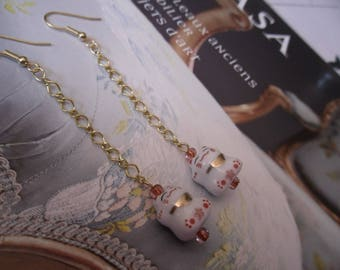 Japan maneki neko white and gold - ceramic - long earrings