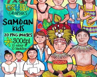 Samoan Kids Clip Art, Instant Digital Download