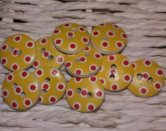 set of 10 yellow wooden buttons has red dots