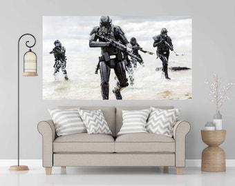 "Death Trooper Decal, Star Wars Art Decor, Star Wars Decal, Rogue One Decal, Fathead Mural, Star Wars Kid's Room, Storm Trooper, 27""x48"""