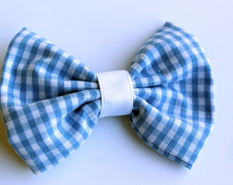 Blue and White Gingham Hair Bow - Stocking Stuffer - Blue and White - School Hairstyle - Ready to Ship