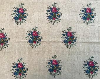 Vintage Indian block print fabric, painted flowers