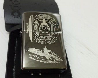 Rare USS Tennessee Submarine  US Navy  Zippo Lighter w/Fitted Butane Torch Insert