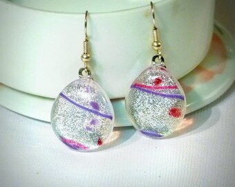 Dichroic Glass Earrings Silver Pink Violet Confetti French Wire