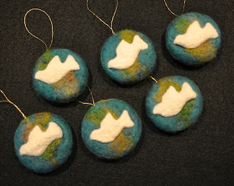 "Set of six needle felted ""Peace on Earth"" ornaments"