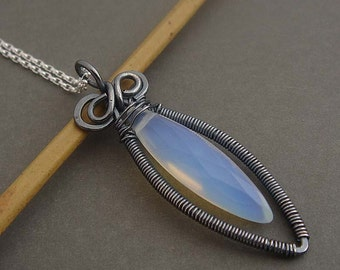 Sterling Silver necklace, opalite moonlight  wire wrapped necklace, gemstone necklace,  white necklace, gemstone jewelry