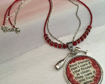 Item 481    Best Friend & Wine Poured Resin Bezel Two Strand Necklace