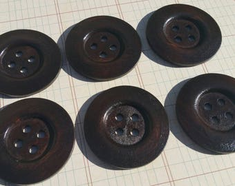 "Wood Buttons - Round Dark Wooden Button - Four Holes Deep Rim - Sewing Crochet Knitting - 1 15/16"" Wide - Style 102"